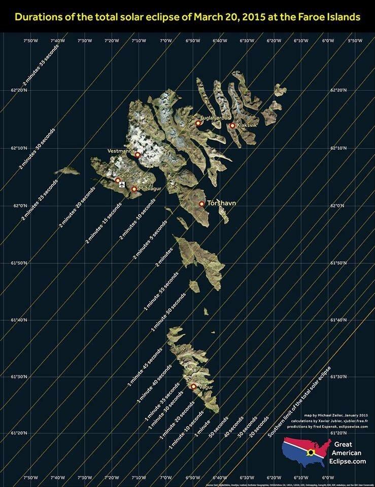 Распределение длительности полной фазы, Фарерские острова 20 марта 2017 года