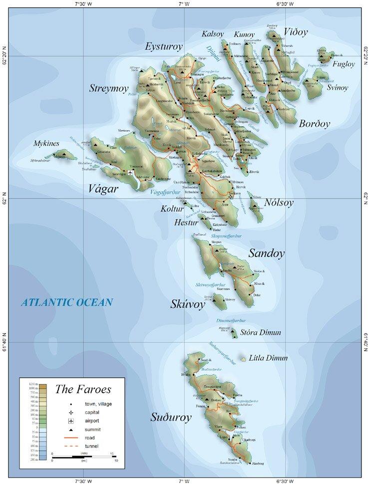 Физическая карта, Фарерские острова